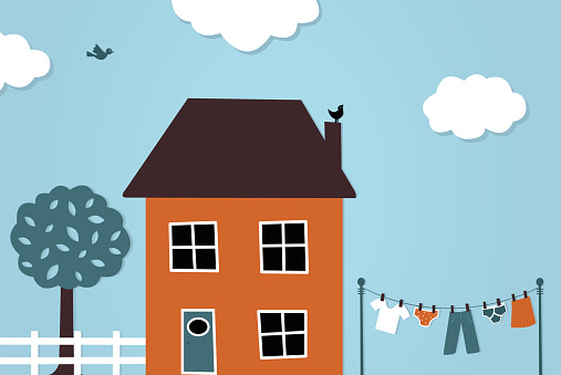 House And Washing Line