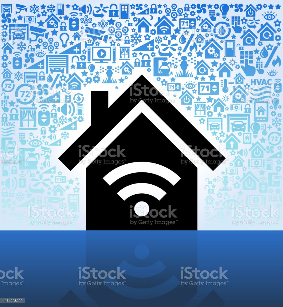 House and Wi-Fi on Home Automation and Security Vector Background vector art illustration