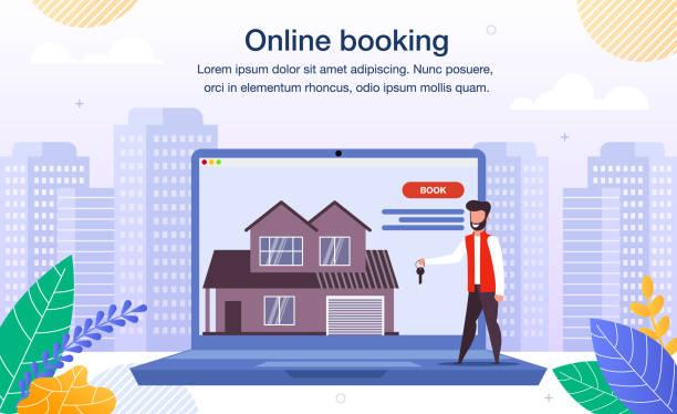 Haus, Wohnung Online Buchung Flat Vector Banner – Vektorgrafik