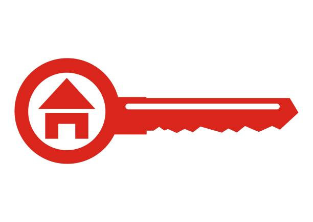 House at key, vector icon. House at key, vector icon. Red silhouette key with house. Concept for real estate agency or turnkey construction. house key stock illustrations
