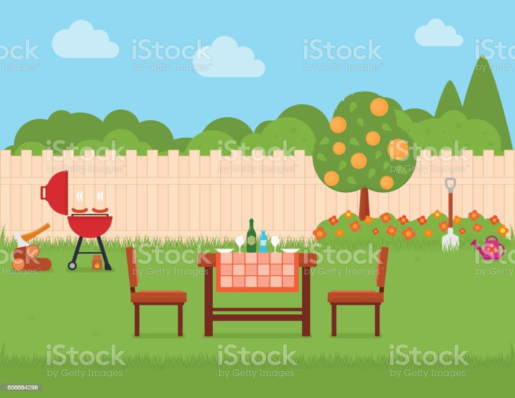 house backyard with grill and garden vector art illustration