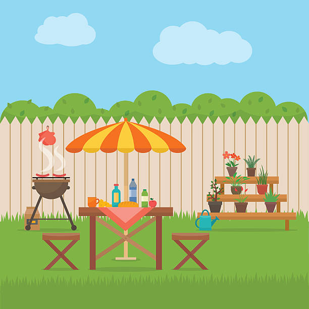 stockillustraties, clipart, cartoons en iconen met house backyard with grill. - garden house