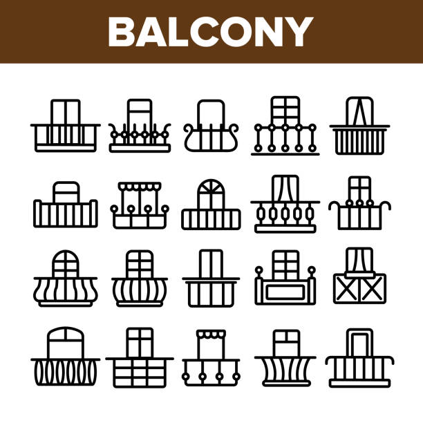 House Balcony Forms Linear Vector Icons Set House Balcony Forms Linear Vector Icons Set. Fashionable Balcony Thin Line Contour Symbols Pack. Modern Architecture Pictograms Collection. Luxurious Veranda Decor. Terrace Outline Illustrations porch stock illustrations