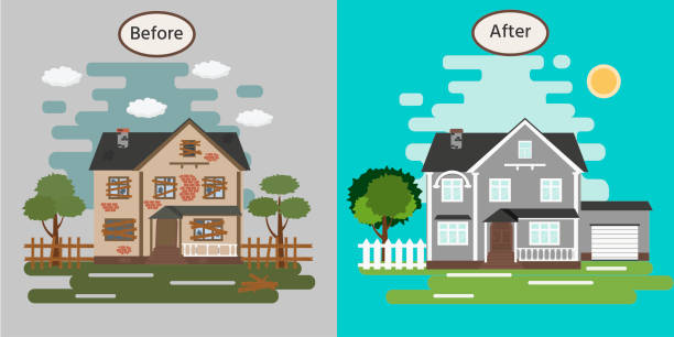 ilustrações de stock, clip art, desenhos animados e ícones de house before and after repair. old run-down home. renovation building. vector illustration. - casa reforma