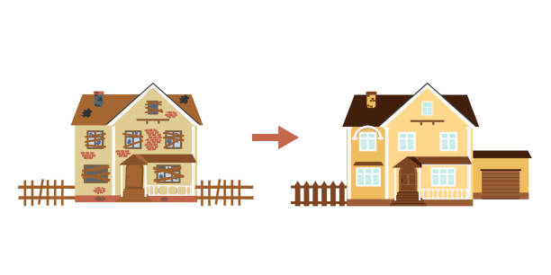 House before and after repair. Old run-down home. Renovation building. House before and after repair. Old run-down home. Renovation building. The cottage is modern. Vector illustration. bad condition stock illustrations