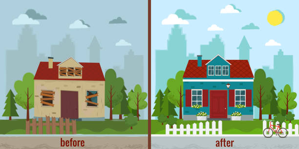 ilustrações de stock, clip art, desenhos animados e ícones de house before and after repair vector illustration. - casa reforma