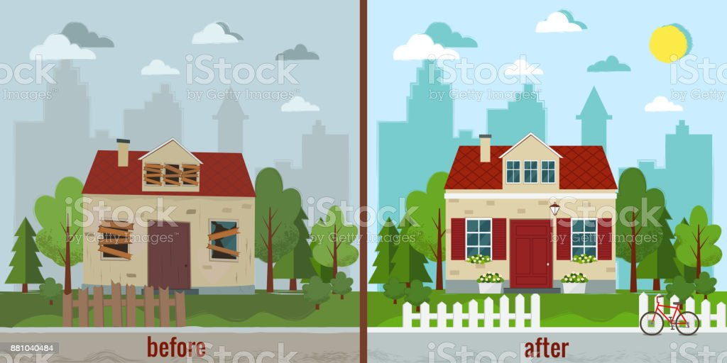 House before and after repair vector illustration. vector art illustration