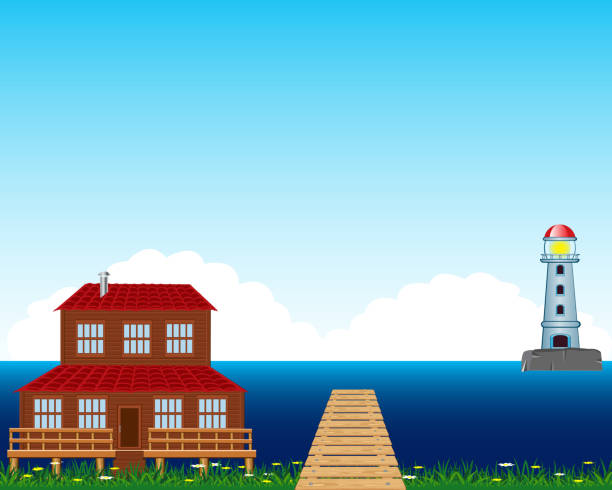 House beside epidemic deathes Vector illustration of the building ashore epidemic deathes waterfront stock illustrations