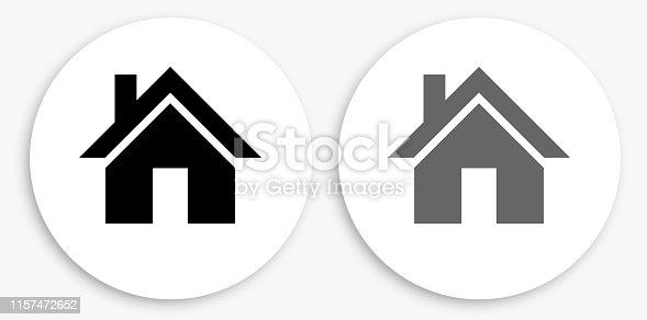 istock House Black and White Round Icon 1157472652