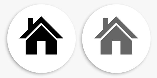 House Black and White Round Icon House Black and White Round Icon. This 100% royalty free vector illustration is featuring a round button with a drop shadow and the main icon is depicted in black and in grey for a roll-over effect. house stock illustrations