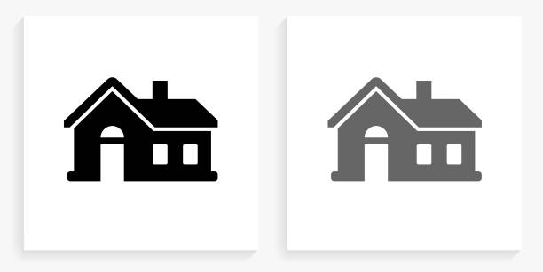 House Black and White Square Icon vector art illustration