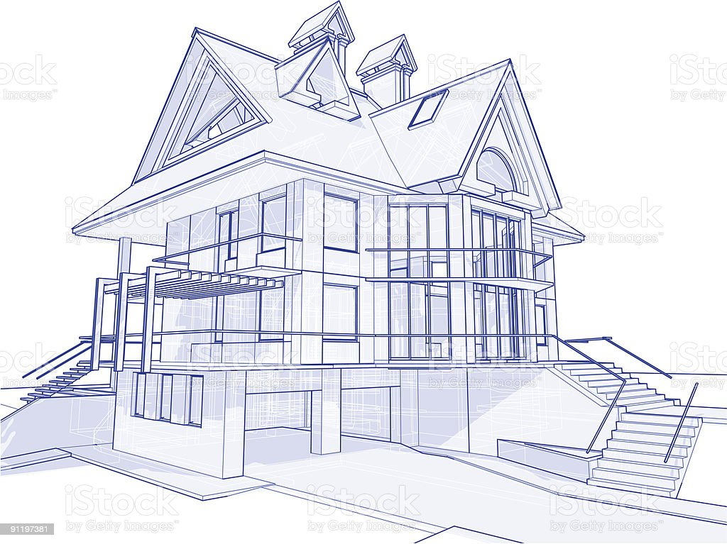 house blueprint: 3d technical concept draw vector art illustration