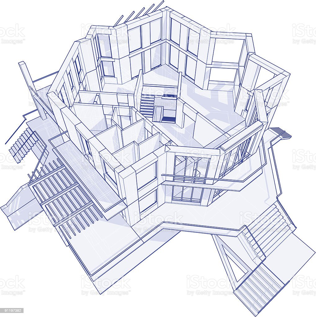 House Blueprint: 3d Technical Concept Draw Royalty Free House Blueprint 3d  Technical Concept Draw