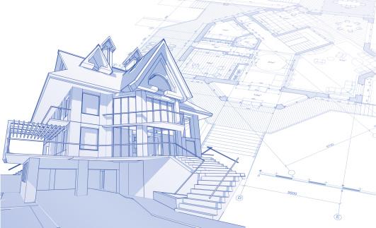 house blueprint: 3d technical concept draw