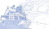 istock house blueprint: 3d technical concept draw 95083525