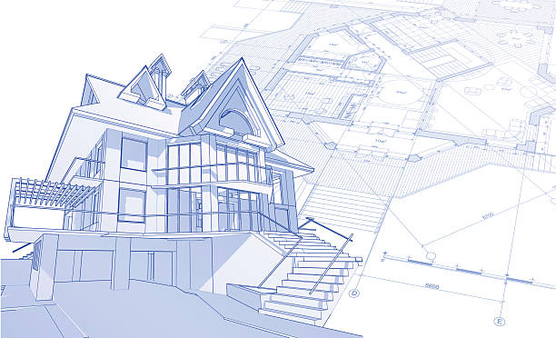 house blueprint: 3d technical concept draw  architecture drawings stock illustrations