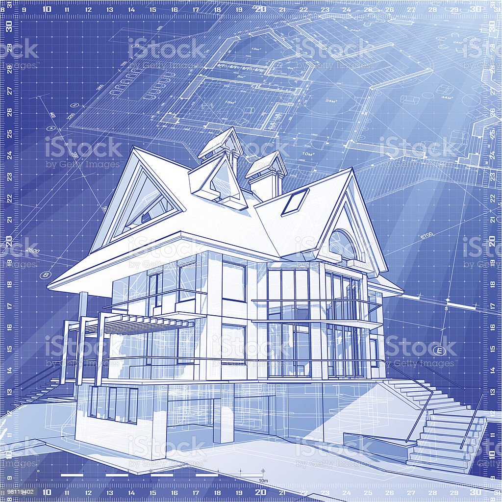 house blueprint: 3d technical concept draw royalty-free house blueprint 3d technical concept draw stock vector art & more images of abstract