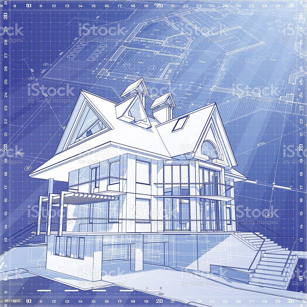 하우스 청사진: 3 d 기술학교 컨셉입니다 그리기 royalty-free 하우스 청사진 3 d 기술학교 컨셉입니다 그리기 3차원 형태에 대한 스톡 벡터 아트 및 기타 이미지