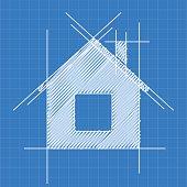 House blueprint logo