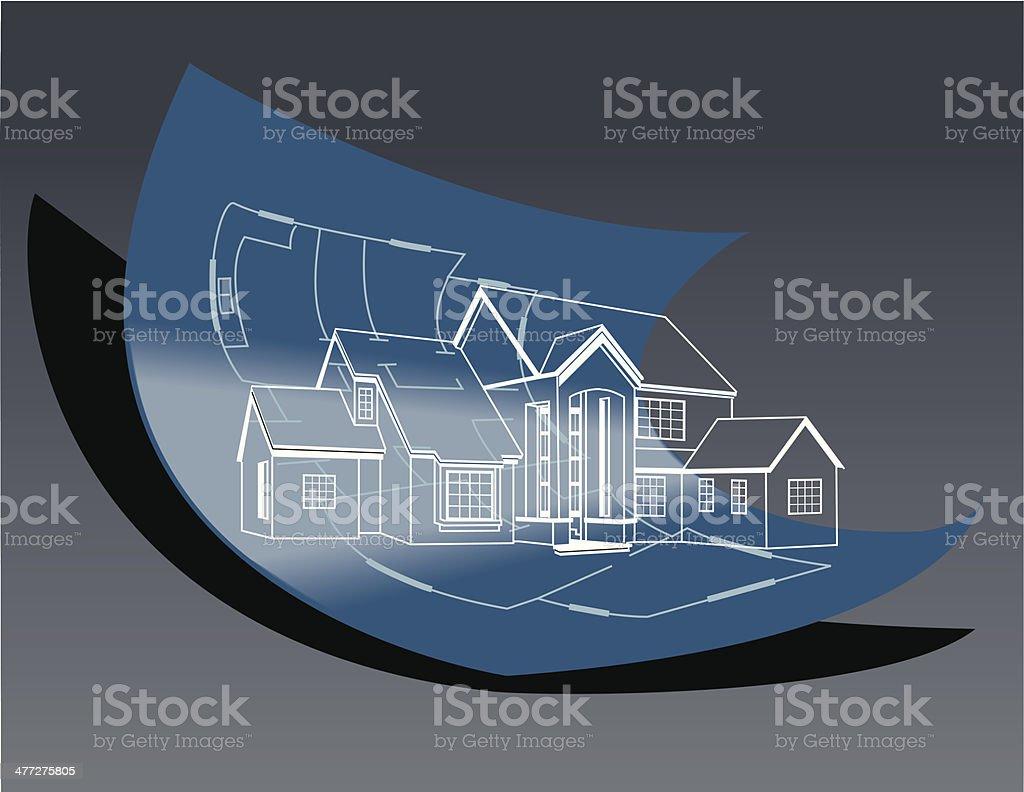 House Blueprint vector art illustration