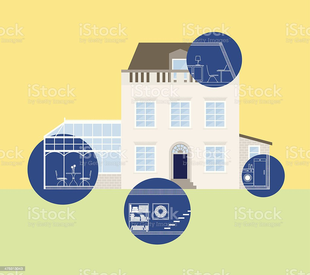 House blueprints, home planning, extension vector art illustration