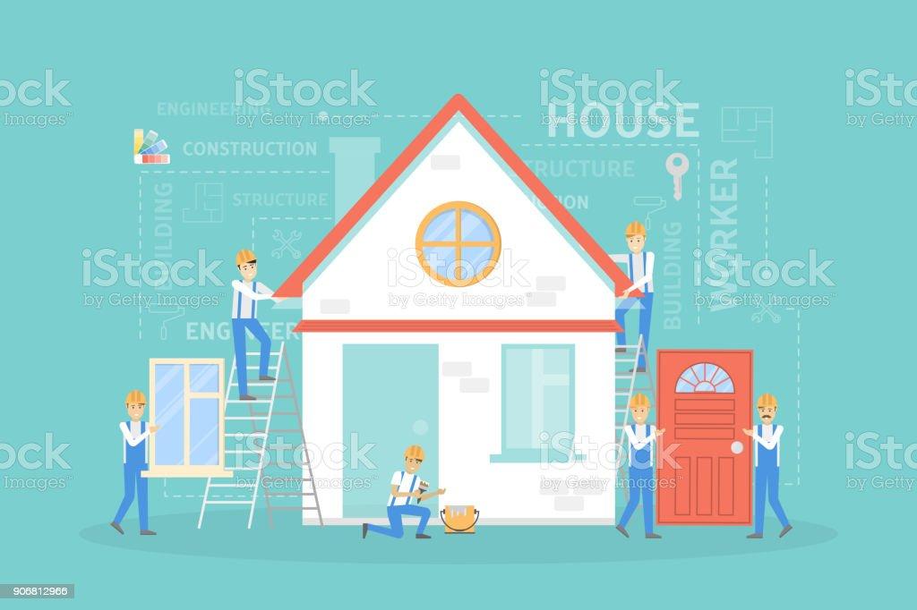 Illustration de construction de maison. - Illustration vectorielle