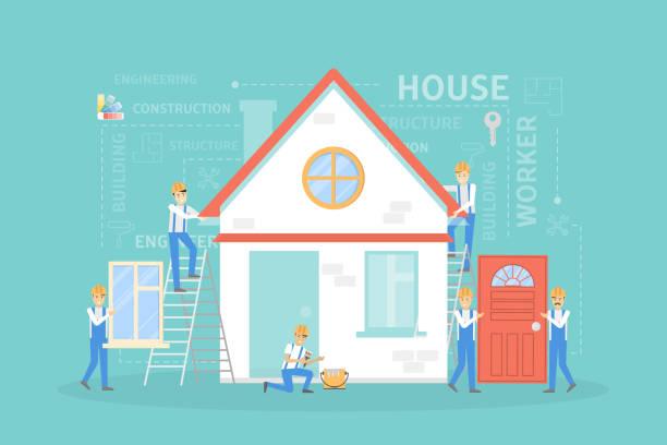 illustrations, cliparts, dessins animés et icônes de illustration de construction de maison. - nouveau foyer
