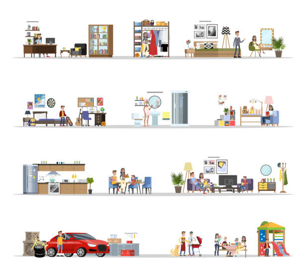 House building interior with the garage set vector art illustration
