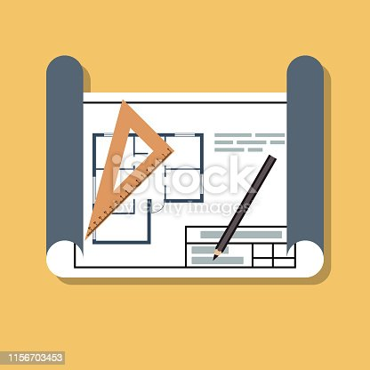 house building or reconstruction project in rolled paper, flat vector illustration