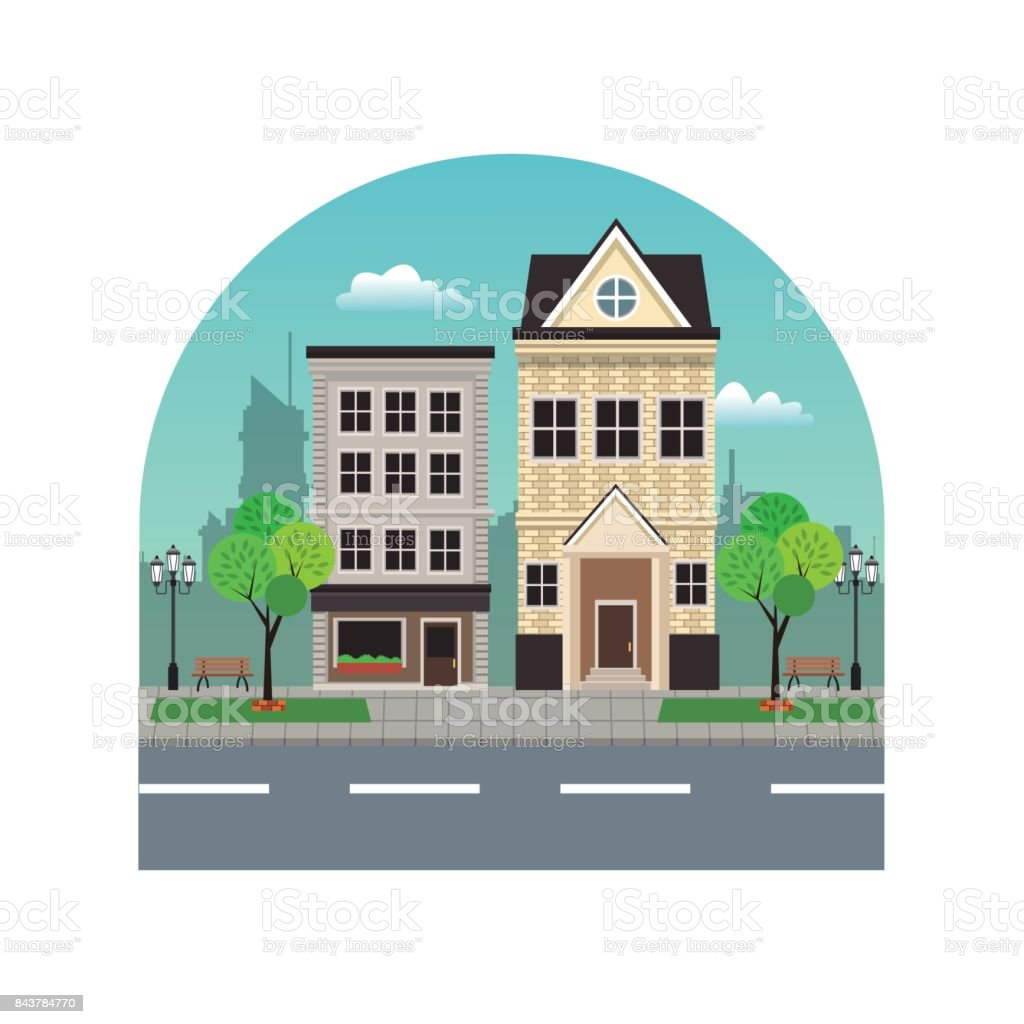 house building residential urban street with tree vector art illustration