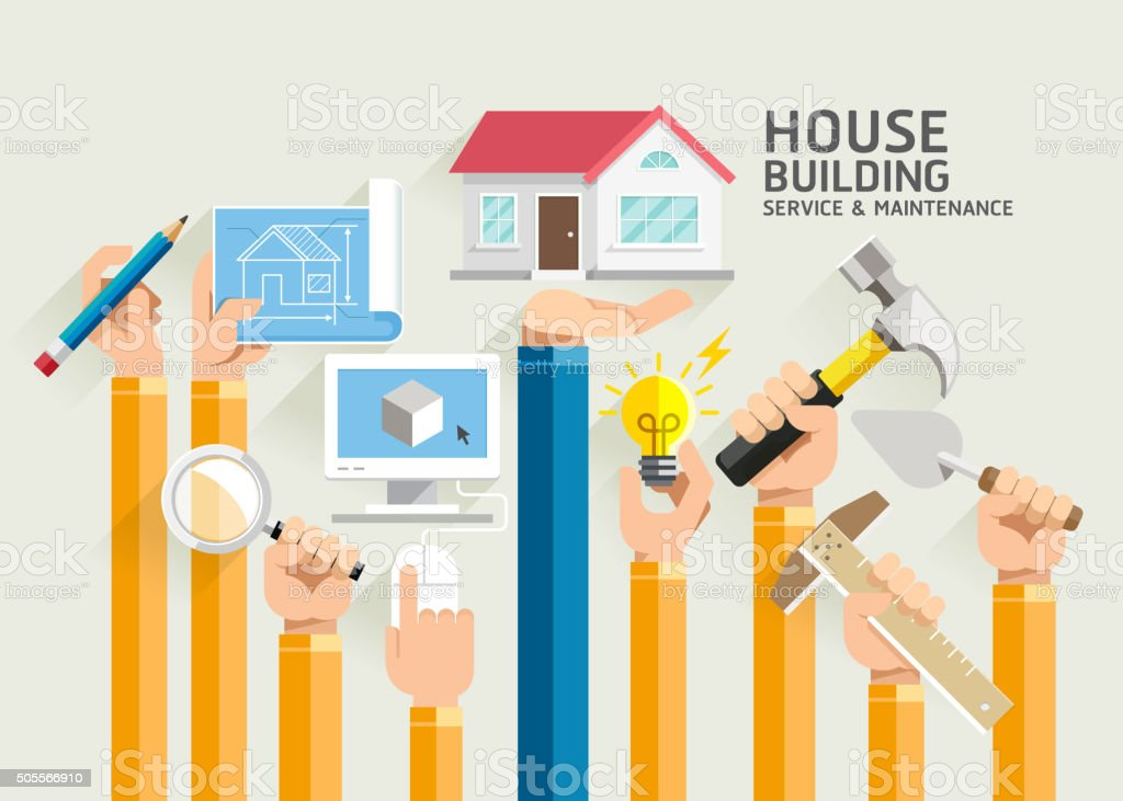 House building service and maintenance stock vector art 505566910 blueprint construction industry document hammer industry house building service and maintenance malvernweather Images