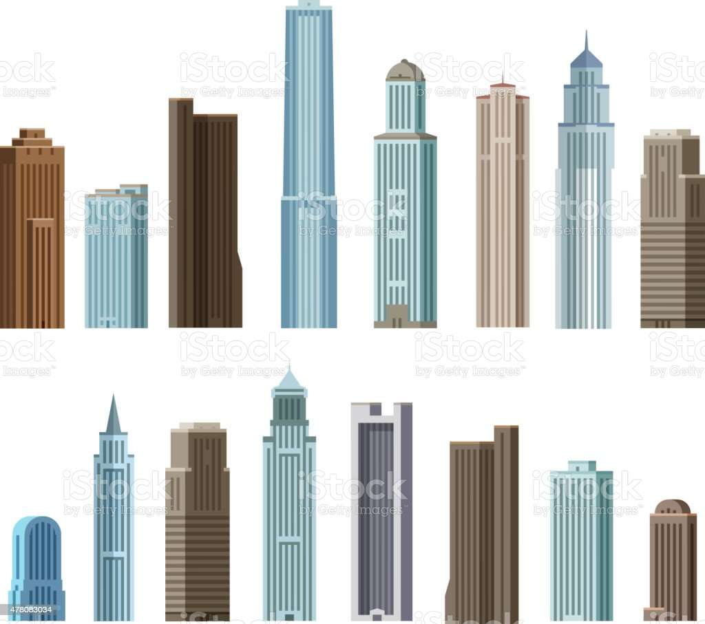 House, building, skyscraper. Set of colored icons. Vector illustration vector art illustration
