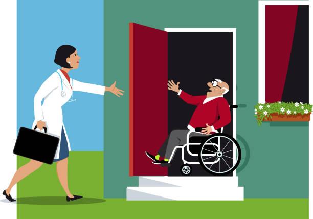 ilustraciones, imágenes clip art, dibujos animados e iconos de stock de visita a domicilio - geriatría