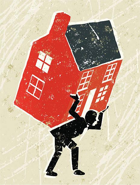 ilustraciones, imágenes clip art, dibujos animados e iconos de stock de asamblea a cabo por un hombre de negocios - embargo hipotecario