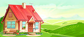 House cartoon landscape vector. Rural. Village Scenery, green hills, sunrise. Countryside Home. Cottage style flat. Summer, spring. Funny, cozy. Skyline, clouds and rays of the sun. Background.
