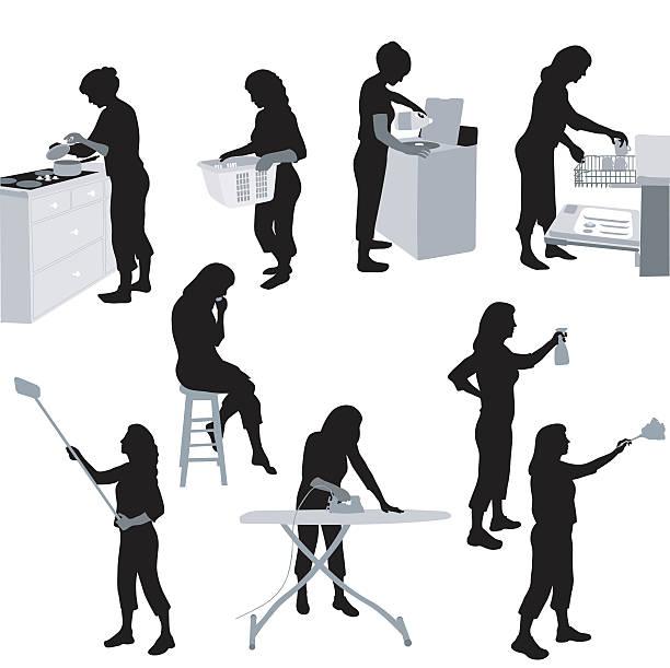 stockillustraties, clipart, cartoons en iconen met house chores - vrouw schoonmaken