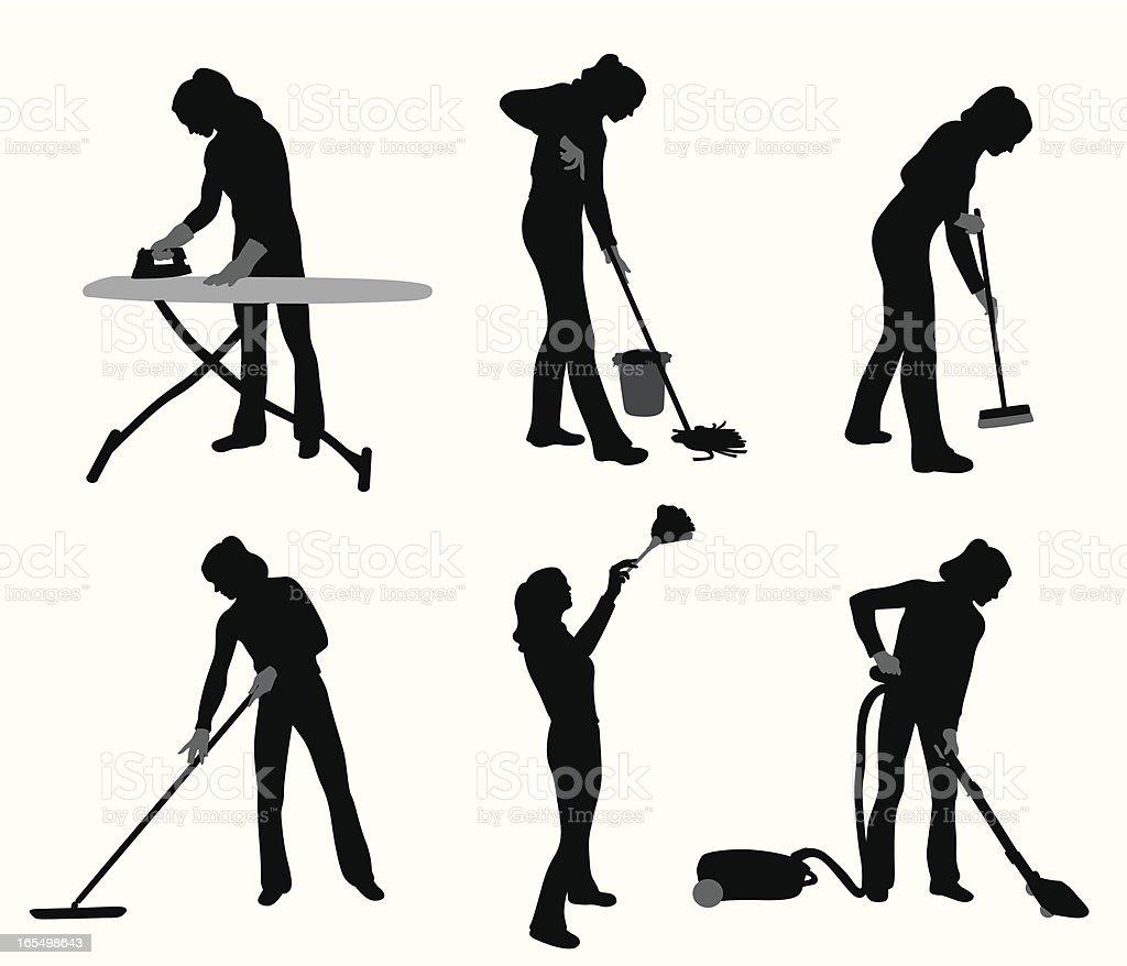 House Chores Vector Silhouette royalty-free stock vector art