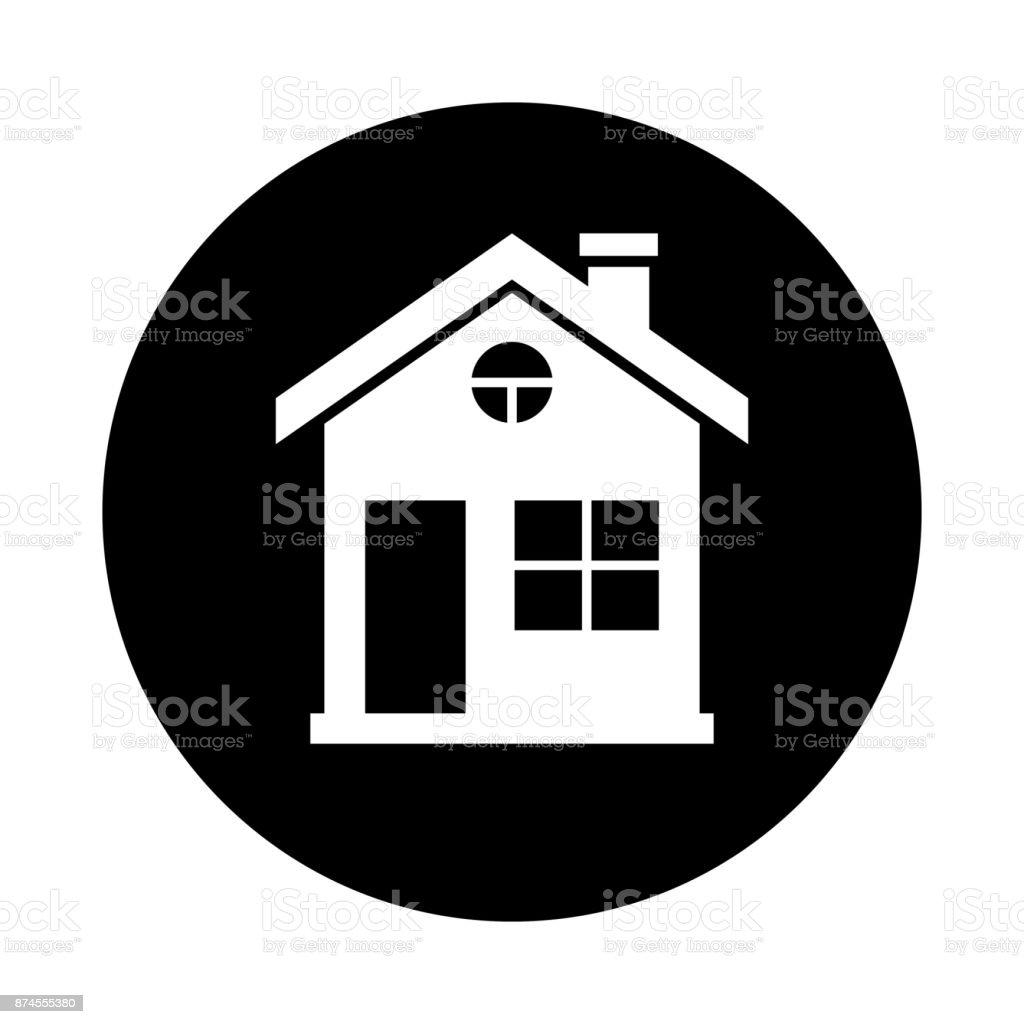 House Circle Icon Black Round Minimalist Icon Isolated On White