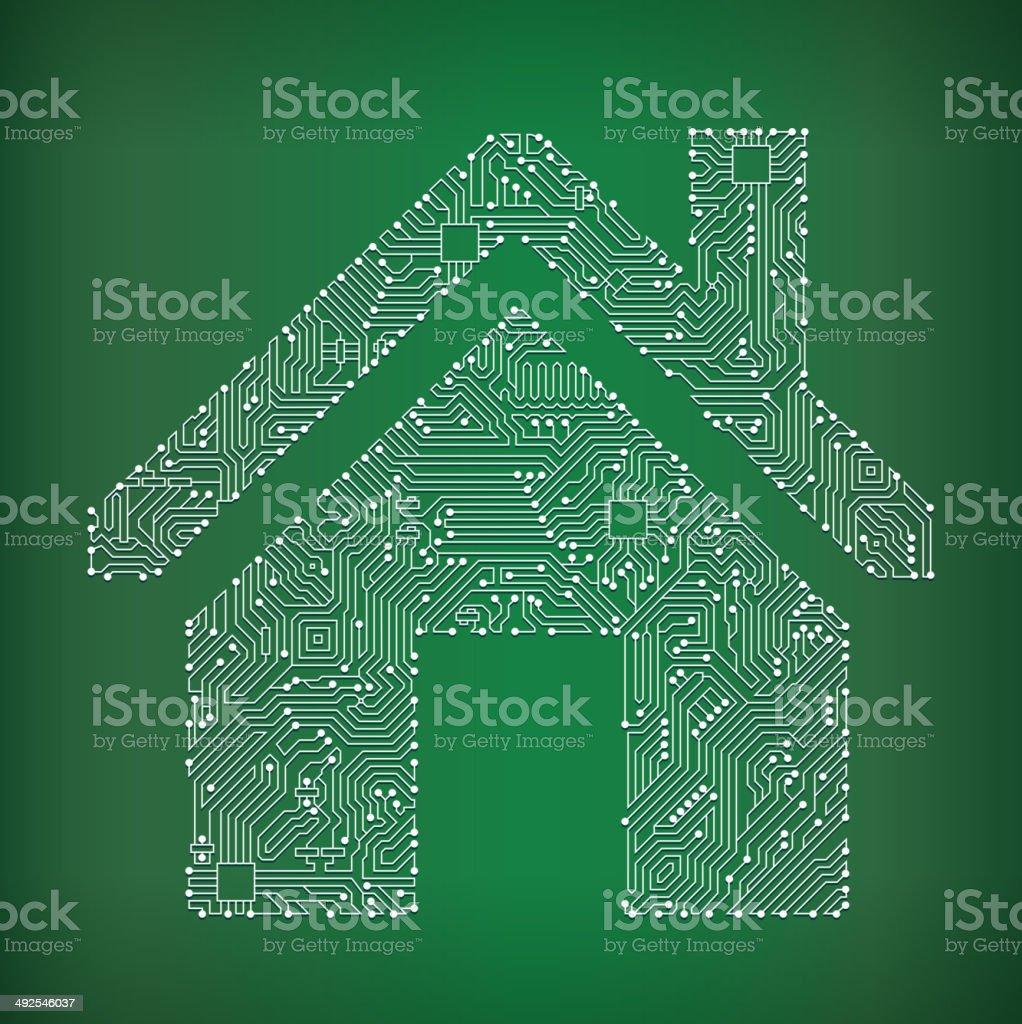 House Circuit Board royalty free vector art background royalty-free stock vector art