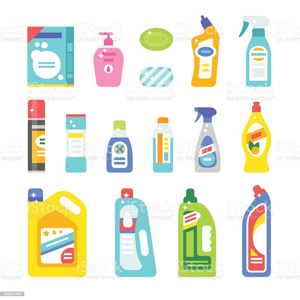 cleaning illustration clipart hygiene vector icons flat symbols clip bottle plastic household illustrations bathroom soap vectors spray svg equipment container