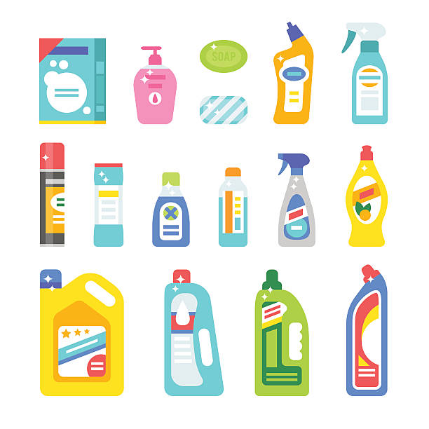 house cleaning hygiene and products flat vector icons set - disinfectant stock illustrations