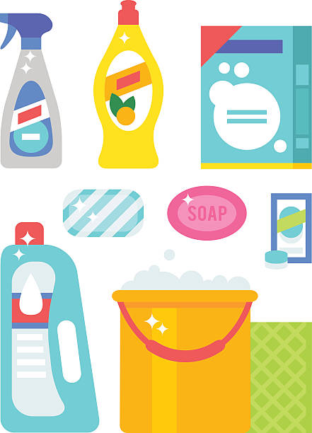 House cleaning hygiene and products flat vector icons set vector art illustration