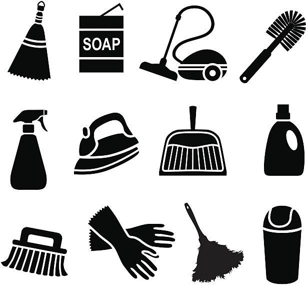 haus reinigung symbole - mittel stock-grafiken, -clipart, -cartoons und -symbole