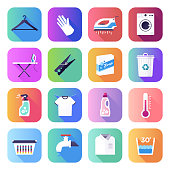House cleaning and low skill workers flat smooth gradient style concept symbols. Flat design vector icons set for infographics, mobile and web designs.