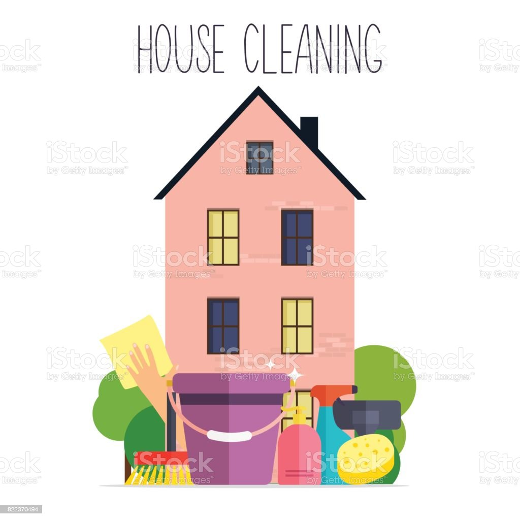House Cleaning. Poster Template For House Cleaning Services With Various  Cleaning Tools. Flat Design