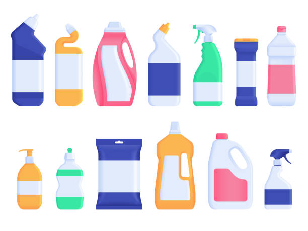 house cleaning products. set of plastic detergent bottles - bleach stock illustrations