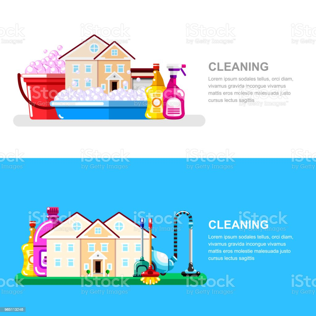 House cleaning service and housework banner design template. Cottage, household tools and supplies, vector illustration royalty-free house cleaning service and housework banner design template cottage household tools and supplies vector illustration stock vector art & more images of bottle