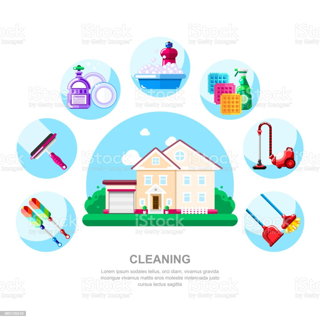 House cleaning service and housework concept. Cottage, household tools and supplies, vector illustration royalty-free house cleaning service and housework concept cottage household tools and supplies vector illustration stock illustration - download image now