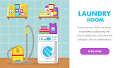 House Cleaning Service Landing Page Flat Template. Washing Machine in Bathroom Vector Web Banner with Text Space. Vacuum Cleaner. Laundry Room Interior. Household Chemicals on Shelf. Stack of Towels