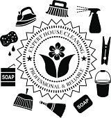 A vector seal useful for advertising house cleaning services.